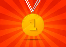 Golden medal for first place on red background. Golden medal for first place on red striped background Stock Images