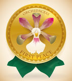 Golden Medal for First Place Winner in Orchid's Contest, Vector Royalty Free Stock Photography