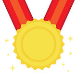 Golden medal in flat style. With red ribbon. Vector icon Royalty Free Illustration