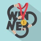 Golden Medal In Hands With Winner Typography Design. Stock Photos