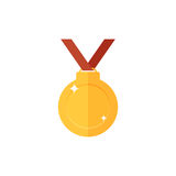 Golden medal icon. Single high quality sign of golden prize for webdesign or mobile app. Golden award vector illustration. Color symbol on white background Royalty Free Stock Photo