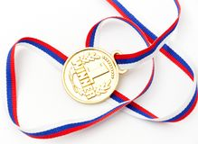 Golden medal isolated on white Royalty Free Stock Images