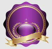 Golden medal/label. Design of golden medal label with heraldics Royalty Free Stock Image