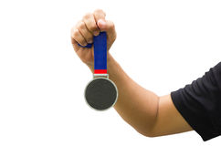 Golden Medal In Man Hand. Stock Images