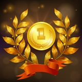Golden Medal Realistic Composition. Golden medal with laurel wreath and red ribbon realistic composition on black sparkling background vector illustration Stock Photo