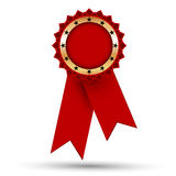 Golden medal with red ribbons Royalty Free Stock Photography
