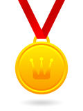 Golden medal with royal crown Stock Photo