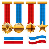 Golden medal set award with  red and blue ribbon icon  ill Stock Photos