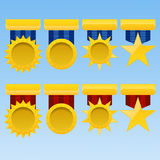 Golden medal set award with ribbon icon  illustration eps Stock Image