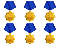 Golden Medal set. Gold of the Medal set on a white background Stock Photography