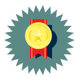 Golden medal with star and red ribbon vector Stock Photo