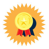 Golden medal with star vector Royalty Free Stock Image