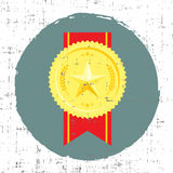 Golden medal with star vector illustration in retro style with screen texture Royalty Free Stock Photography