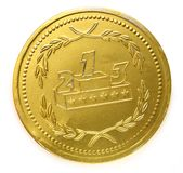 Golden medal. On white background Royalty Free Stock Images