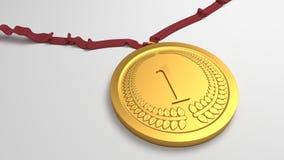 Golden medal for a winner. 3D rendered illustration Stock Images