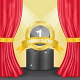Golden medal for winning announcement template on the stage with red curtain. And ligting effect vector illustration