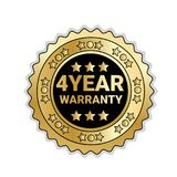 Golden Medal With 4 Year Of Warranty Sign Isolated Mark Icon. Vector Illustration Royalty Free Stock Photo