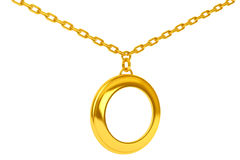 Golden Medallion on chain with Blank Space for Your Photo. 3d Re Stock Photography