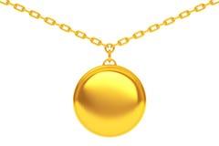 Golden Medallion on chain. 3d Rendering Stock Photography