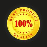 Golden medallion with the inscription Best Product, 100 percent. Quality royalty free illustration