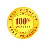 Golden medallion with the inscription Best Product, 100 percent,. Golden medallion with the inscription Best Product, 100 percent and quality stock illustration