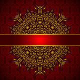 Golden medallion red card vector Stock Photo
