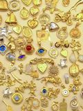 Golden medallions. Big collections of different gold shape medallions Stock Photography