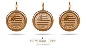 Golden medallions set for Memorial Day in USA Stock Photos