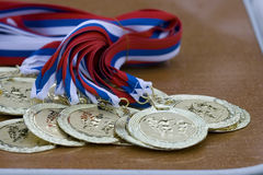 Golden medals. Soccer match on supercup of league Royalty Free Stock Photos