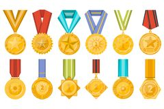 Golden medals collection with ribbons set Royalty Free Stock Photos
