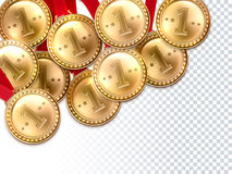 Golden Medals First Winner Background Poster. Golden round shining medals 1st place winner award on the checked background poster print abstract vector Royalty Free Stock Photo
