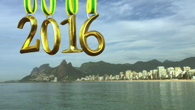 Golden 2016 Medals Hanging Ipanema Beach Rio stock video footage