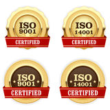 Golden medals ISO 9001 certified - quality badge Royalty Free Stock Images