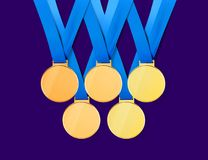 Golden medals with path. Collection of golden sports medals on white background with path, 3D illustration vector illustration