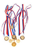 Golden medals with tape Stock Photography