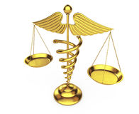 Golden Medical Caduceus Symbol as Scales. 3d Rendering Royalty Free Stock Photos
