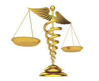 Golden Medical Caduceus Symbol as Scales. 3d Rendering Royalty Free Stock Photo
