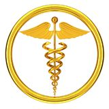 Golden Medical Caduceus Symbol. 3d Rendering. Golden Medical Caduceus Symbol on a white background. 3d Rendering Royalty Free Stock Image