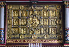 Golden medieval altar in Stadil Stock Photo