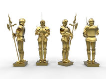Golden medieval knight Stock Image