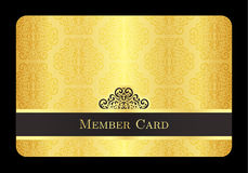 Golden member card with classic vintage pattern Royalty Free Stock Image