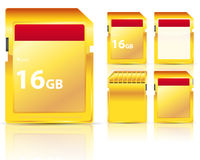 Golden memory card Stock Image