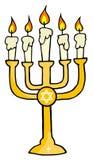 Golden menorah. With candles cartoon character stock illustration
