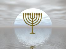 Golden Menorah. Surreal presentation of a gold menorah Royalty Free Stock Photography