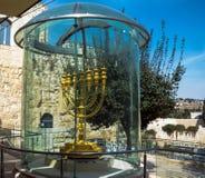 Golden Menorah - copy of one used in Second Temple in Jewish Quarter . Jerusalem,. Golden Menorah - copy of one used in Second Temple in Jewish Quarter royalty free stock image