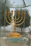 The golden menorah located in the Jewish Quarter in the Old City of Jerusalem Royalty Free Stock Photos