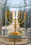 Golden Menorah, Old City of Jerusalem, Israel Stock Photo