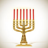 Golden menorah with seven candles Stock Image