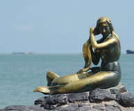 Golden Mermaid. Statue, the landmark of songkhla, Thailand Royalty Free Stock Photos
