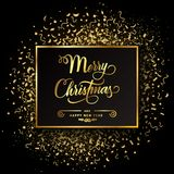 Golden Merry Christmas on gold dust and confetti - vector. Golden Merry Christmas on gold dust and confetti - stock vector stock illustration